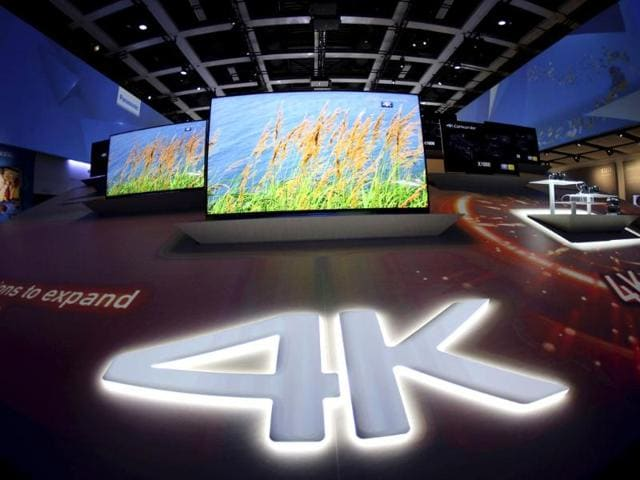 Panasonic 4K TV sets are seen on display during the IFA Electronics show in Berlin. (Reuters)