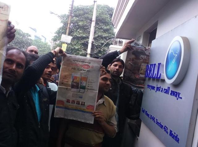 Three members of the Income Tax Department reached the Ringing Bells office at noon on Friday.