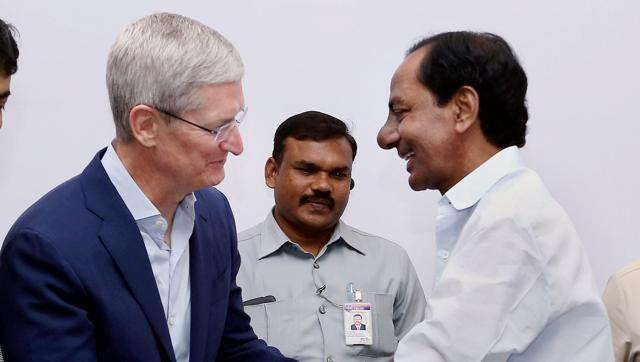Apple's CEO Tim Cook (L) shakes hands with Telangana CM K Chandra Sekhar Rao after inaugurating Apple's development office in Hyderabad on Thursday.