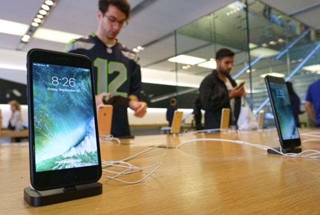 In this Sept. 16, 2016 file photo, The Apple iPhone 7 is displayed at the Apple Store at the Grove in Los Angeles.