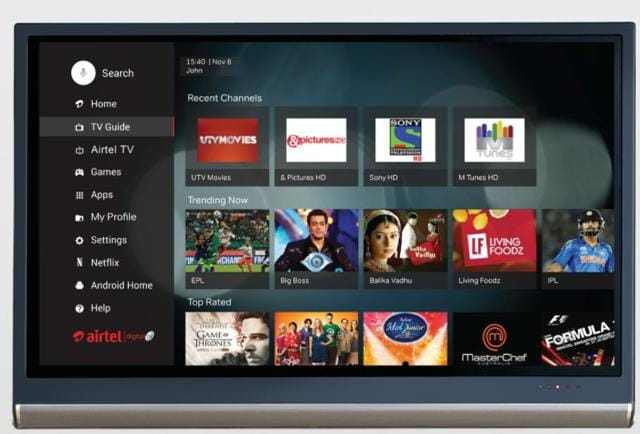 A preview of the interface on the Airtel Internet TV.