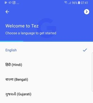 GoogleTez supports all major Indian languages.