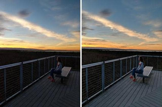 Same picture taken without (left) and with HDR+ on Pixel Visual Core (right). (Photo quality optimised for web)