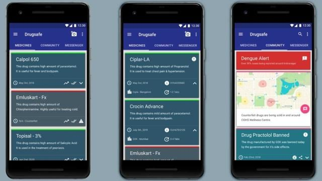 A preview of the DrugSafe application