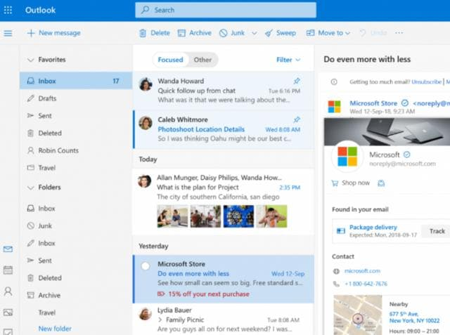Microsoft Outlook on the new Windows 10 October 2018 update.