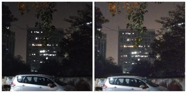 Night shot with HDRoff (L)and HDRon (R). (Image resized for web)
