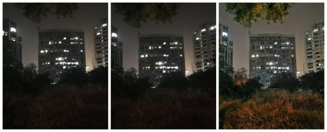 Night mode (right)enhances brightness and colours without losing much of sharpness (image resized for web)