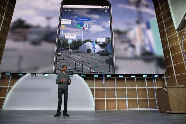 Google CEO Sundar Pichai delivers the keynote address at the 2019 Google I/O conference at Shoreline Amphitheatre on May 07, 2019 in Mountain View, California.