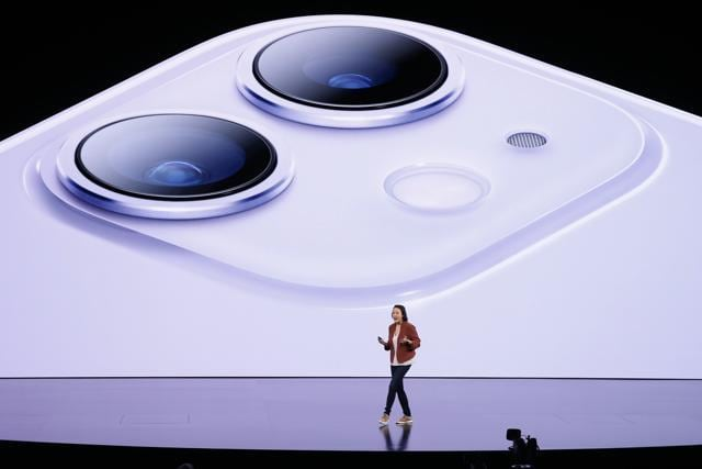 Kaiann Drance presents the new iPhone 11 at an Apple event at their headquarters in Cupertino, California, U.S.
