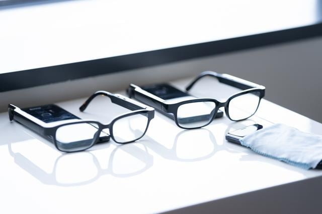 Amazon.com Inc. Echo Frames smart glasses are displayed during an unveiling event at the company's headquarters.
