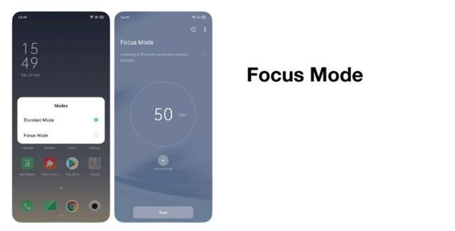 Preview of ColorOS7's focus mode which lets you block calls and notifications