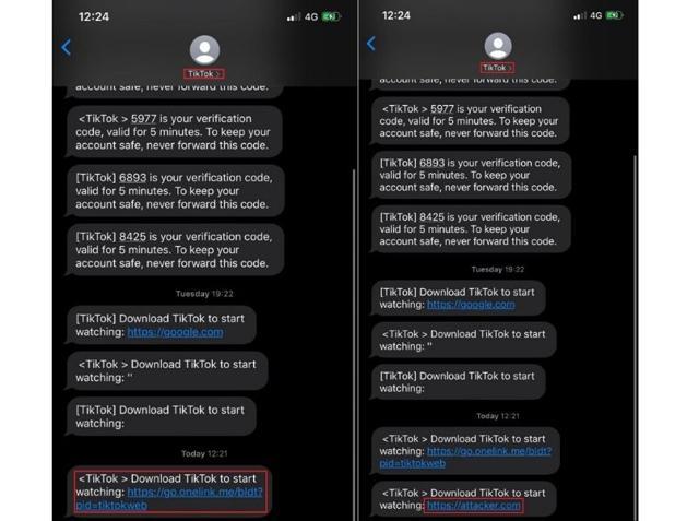 TikTok SMS service vulnerability.