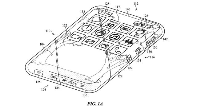 All-glass Apple iPhone with wrap-around display.
