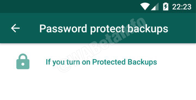 WhatsApp Google Drive backup with encryption.