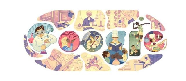 This Google Doodle shows women across a diverse range of fields.