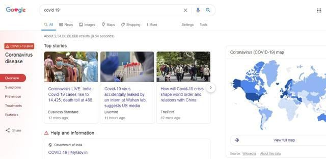 How Search page on Covid-19 looks in India.