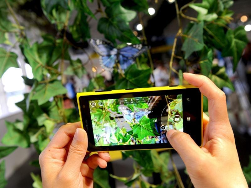 The Nokia Lumia 1020 smartphone is displayed during an announcement event in New York. Photo: Diane Bondareff/Invision for Nokia/AP