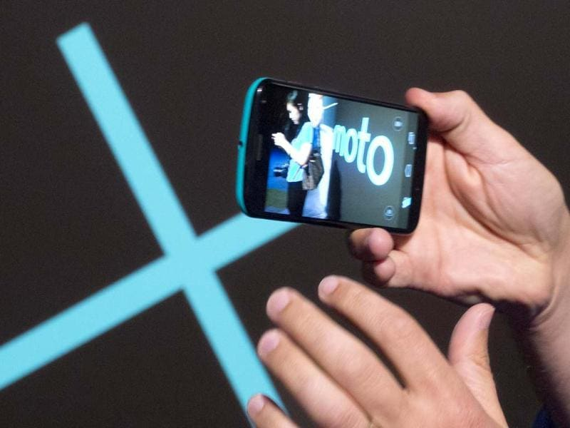 The Motorola Moto X smartphone, using Google's Android software, is shown at a press preview in New York. Photo: AP/Mark Lennihan