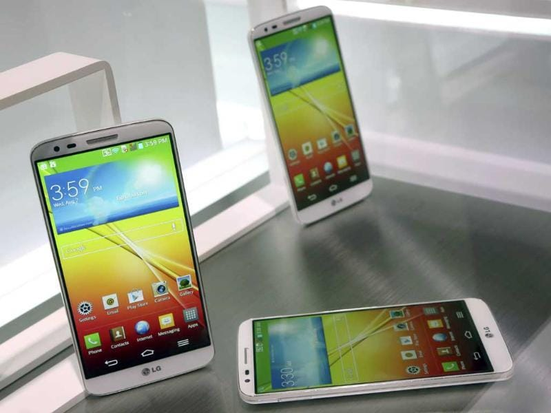 The LG G2 smart phone is on display during a news conference in New York. Photo: AP/Mary Altaffer