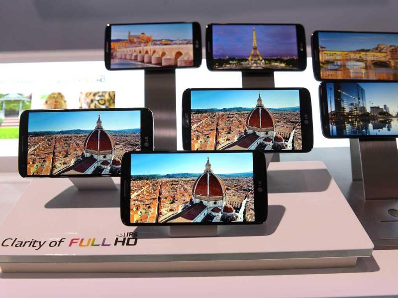 LG G2 is on display, during a global launch event in New York. Photo: AFP/Emmanuel Dunand