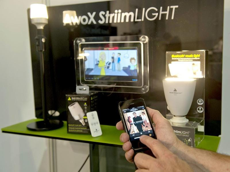 A lightbulb speaker connecting to your devices by bluetooth or WIFI is on display at the French company 'AwoX' booth at the 53rd edition of the IFA electronics trade fair in Berlin. Photo: AFP / Odd Andersen