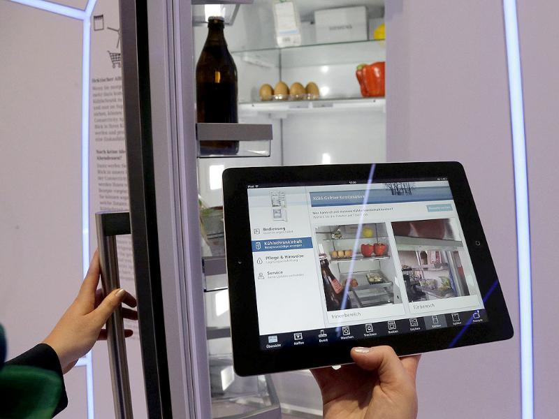 An app shows the inside of a fridge, that has cameras and a link to a network onboard, during the opening day of the IFA consumer electronics fair in Berlin. Photo: Reuters/Tobias Schwarz