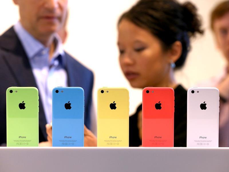 The new iPhone 5C displayed during the Apple product announcement at the Apple campus in Cupertino, California. (AFP Photo)