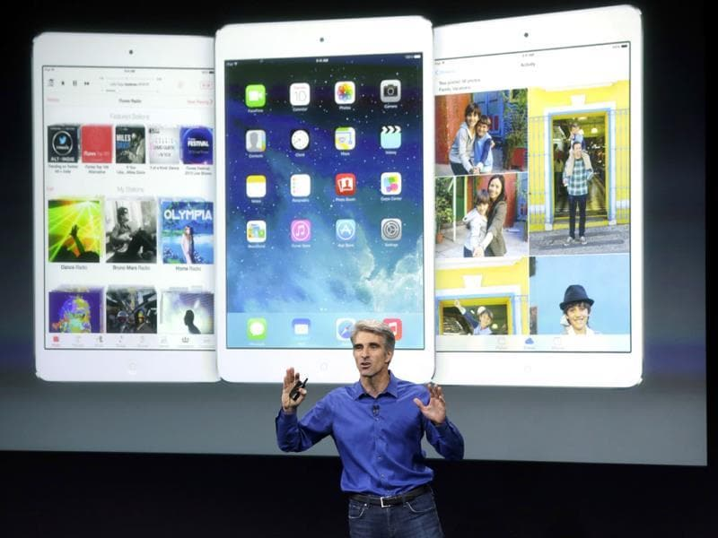 Craig Federighi, senior vice president of Software Engineering at Apple, speaks during the new product release in Cupertino, California. (AP Photo)
