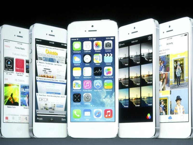 Screenshots of the iOS7 seen on screen during Apple Inc's media event in Cupertino, California. (Reuters Photo)