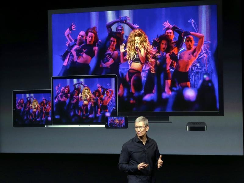 Apple CEO Tim Cook speaks on stage before the new product introduction in Cupertino, California. (AP Photo)