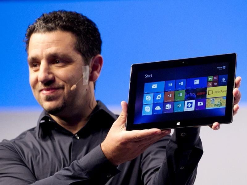 Panos Panay, corporate vice president of Microsoft, introduces a new Surface tablet in New York. Photo: AP/Mark Lennihan