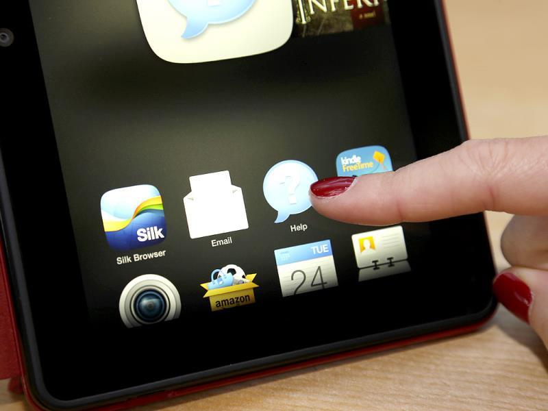 The new 'Mayday' button is shown with an icon that features a question mark and the word 'Help,' on the screen of a new Amazon Kindle HDX tablet computer in Seattle. Photo: AP/Ted S. Warren