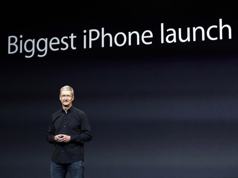Apple CEO Tim Cook speaks on stage before a new product introduction in San Francisco. (AP photo)