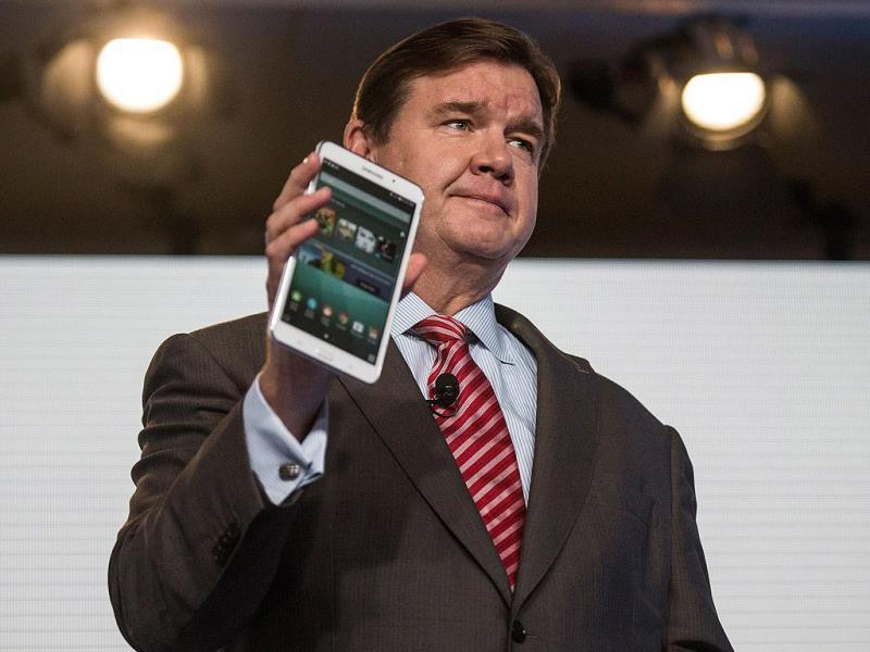 Mike Huseby, CEO of Barnes & Noble, speaks at a media event introducing the new Samsung Galaxy Tab 4 Nook in New York City. Photo: Andrew Burton/Getty Images/AFP