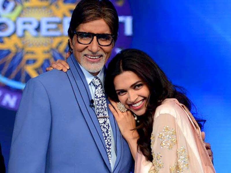 Amitabh Bachchan poses with Deepika Padukone on KBC 8 sets.