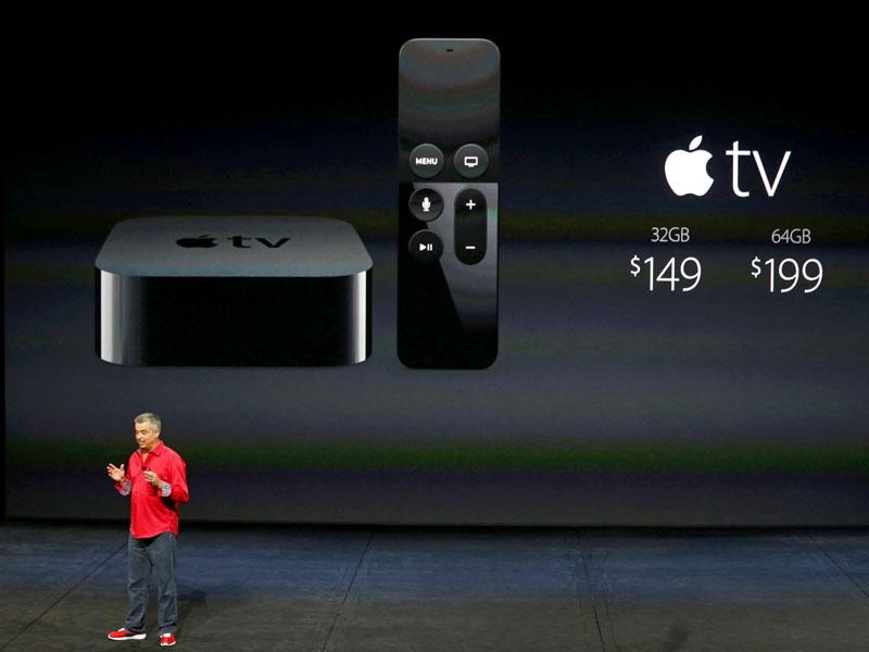 Eddie Cue, Apple's senior vice president of Internet Software and Services, discusses Apple TV pricing during an Apple media event in San Francisco, California. (Reuters Photo)