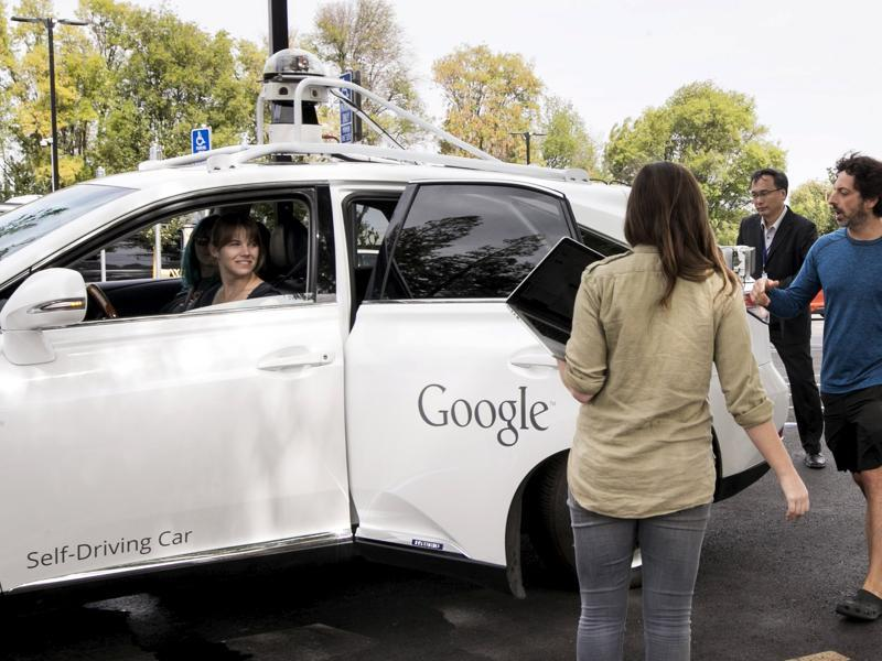 While Google co-founder Sergey Brin rode a standard Lexus retrofitted with self-driving technology. (REUTERS)