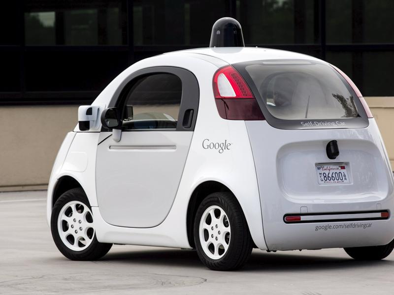 Jouralists got to test-drive (test-ride?) these autonomous vehicle prototypes on Google's Mountain View Campus on September 29.  (REUTERS)