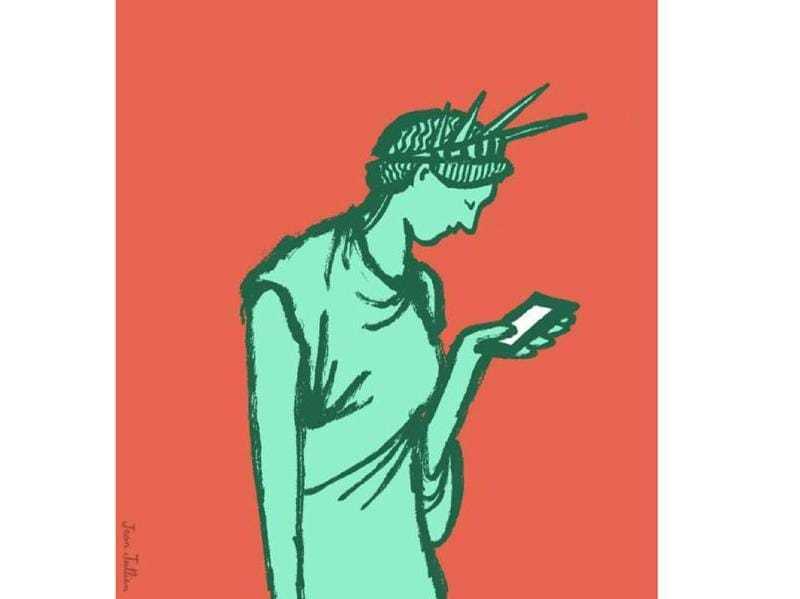 The  new Statue of Liberty symbolising your freedom to text.
