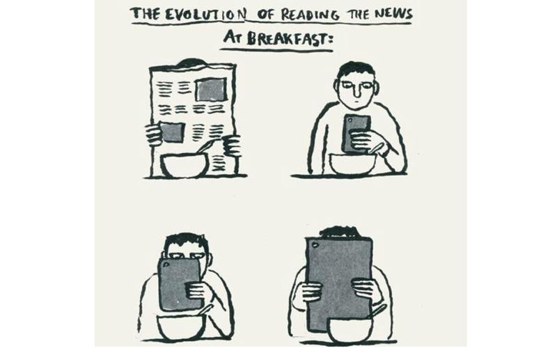 From a newspaper to a smartphone to a tablet to an oversized tablet like the recently released iPad Pro, we have come full circle when it comes to reading the news at breakfast.