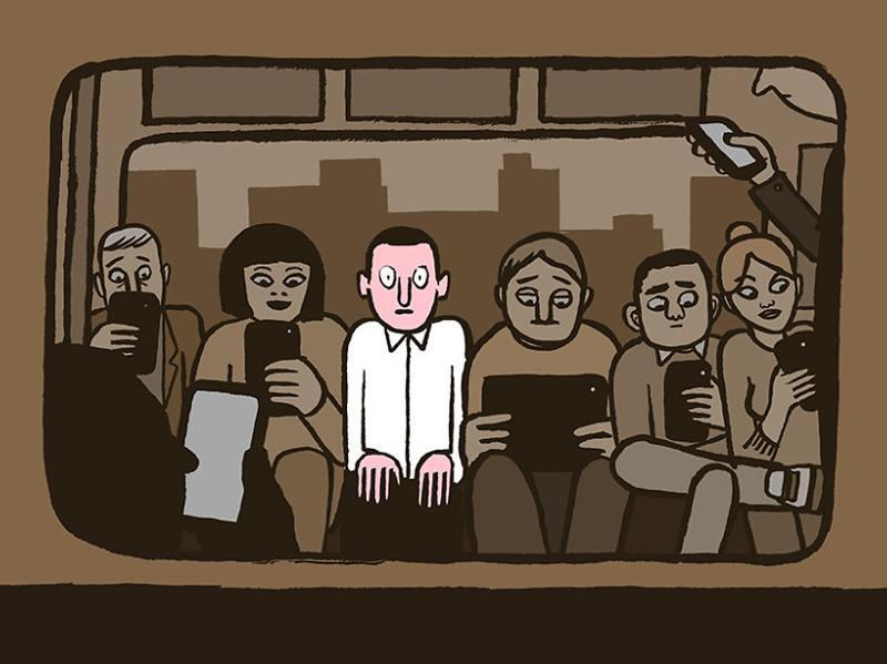 """Jullien makes everyone's obsessions with screen seem tragic with this illustration title """"Weirdo On The Subway""""."""