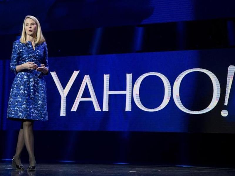 Yahoo President and CEO Marissa Mayer speaks during the International Consumer Electronics Show in Las Vegas.