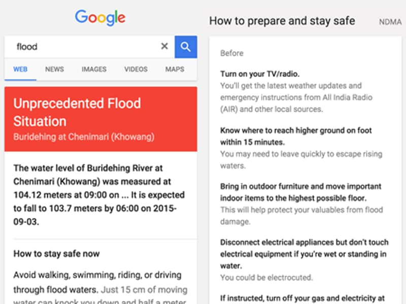 Google has announced that its public emergency alerts in India will even information on floods  now.