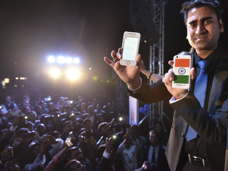 """Noida-based Ringing Bells Pvt Ltd— set up just five months ago by Amity University graduate Mohit Kumar Goel who goes by """"Cutemohit"""" on Facebook— launched the Freedom 251 at a high-profile function."""