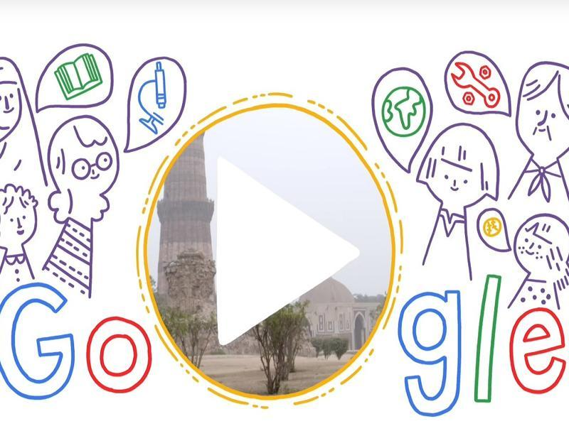 A screen grab of the Google doodle celebrating the International Women's Day.