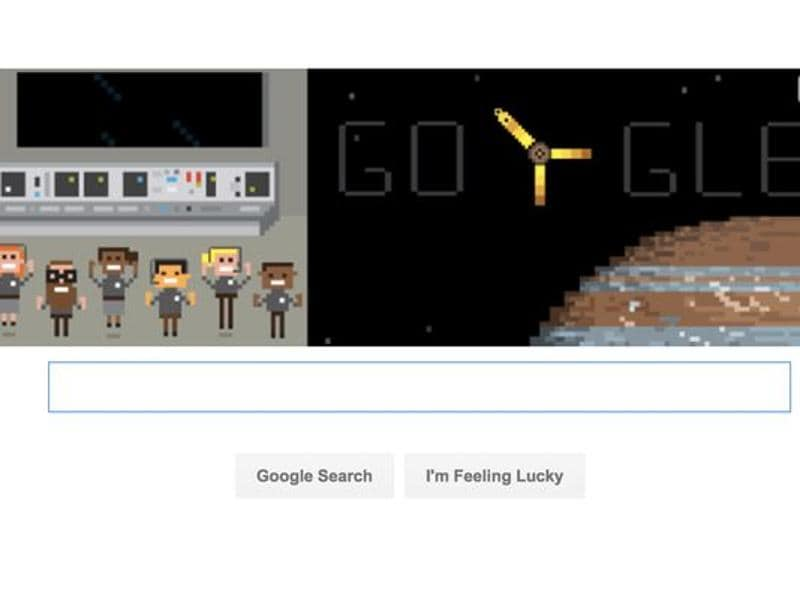 """NASA's Juno probe entered the orbit of our solar system's largest planetary inhabitant after a five-year journey, Google celebrated the scientific milestone with a doodle that says """"Juno reaches Jupiter""""."""
