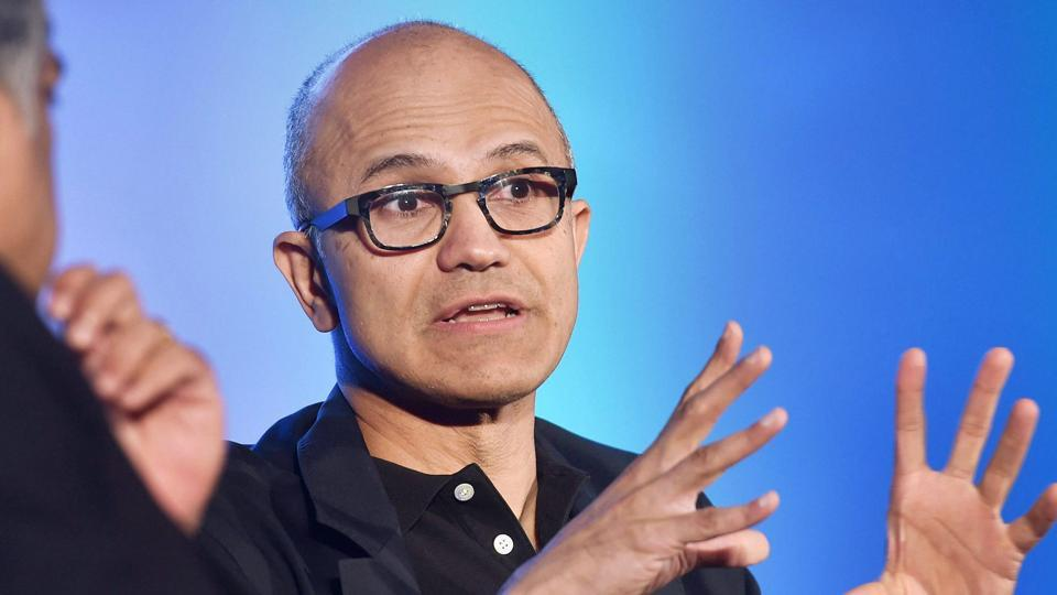 Microsoft CEO Satya Nadella in discussion with Nandan Nilekani during an event on startup stalwarts of India about digital information, cloud and AI, in Bengaluru.