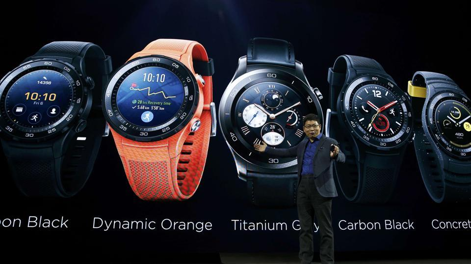Richard Yu, chief executive of Huawei's consumer business, introduces the new smartwatch, the Watch 2 (REUTERS)