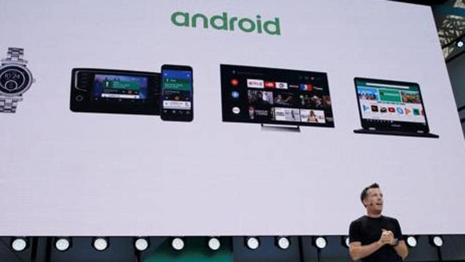 Dave Burke, vice president of engineering, Android, speaks on stage during the annual Google I/O developers conference in California, US on 17 May.