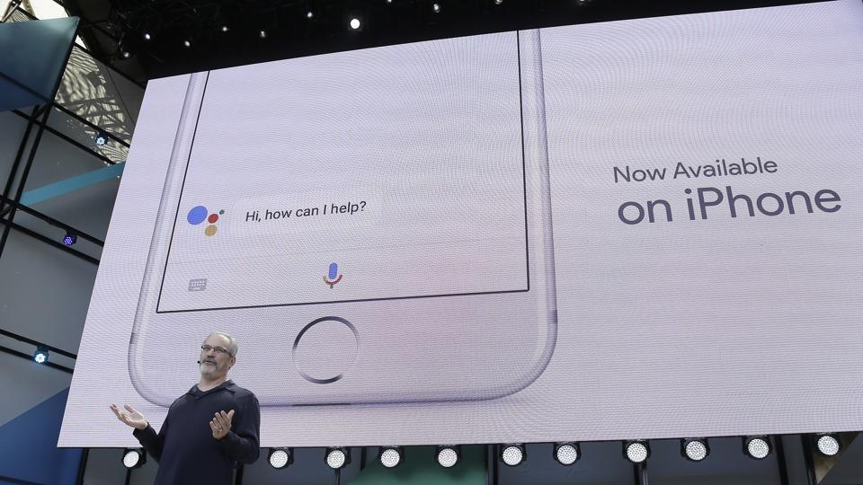 Scott Huffman talks about the Google Assistant now being available on the Apple iPhone during the keynote address of the Google I/O conference, on May 17, 2017, in Mountain View, California.